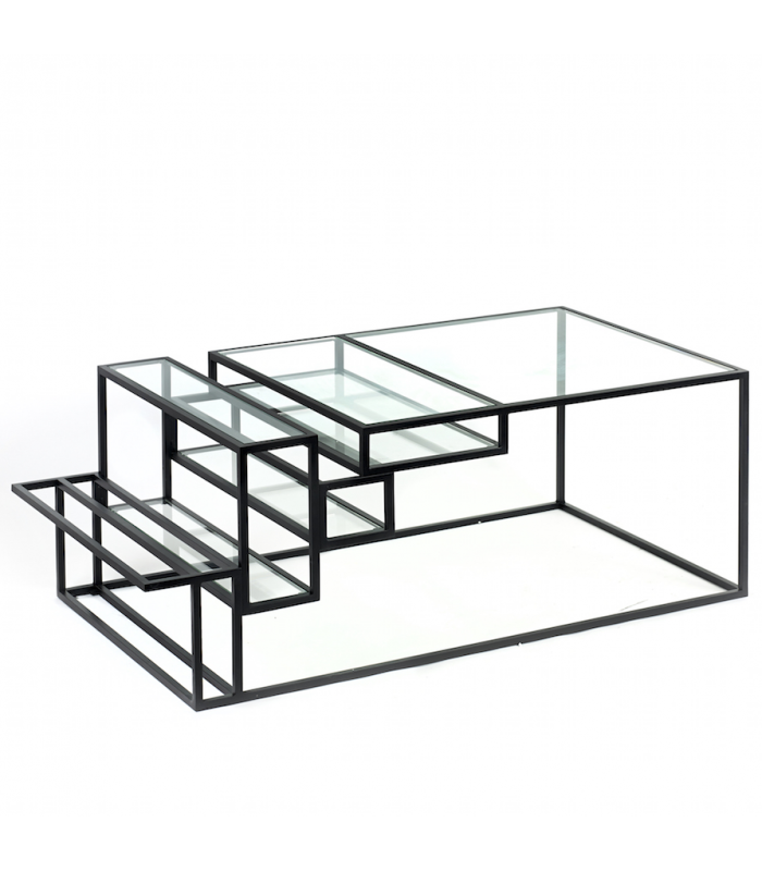Table basse en m tal et verre serax frenchrosa - Table basse en verre modulable ...