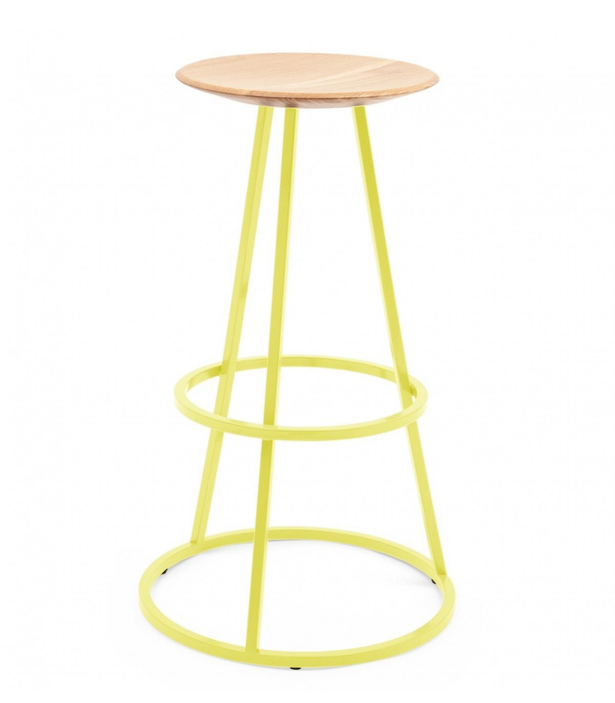 set of 2 yellow tolix style metal bar stools in glossy powde