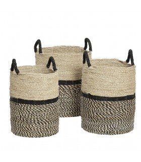 Round baskets black and natural Hubsch