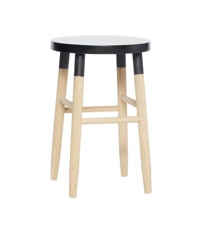 Bar stool wood nature black ø35xh72cm Hubsch