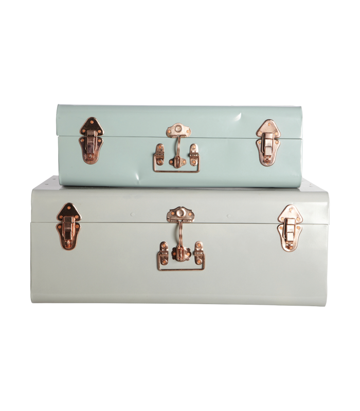 Valises mint et grise (set de 2)