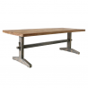 Gray and natural dining table