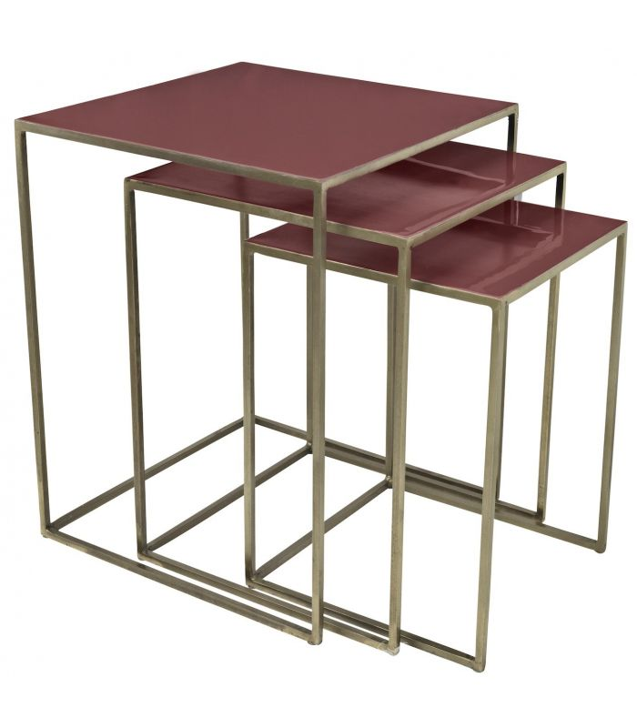 Tables gigogne Freja rouge argile