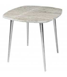 Table Thorid marbre & aluminium argent