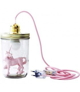Lamp fe bell pink sequins baby head in the jar