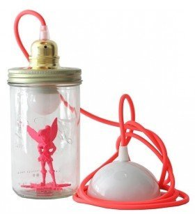 Lamp with fe bell pavilion pink baby head in the jar